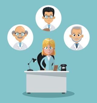 Empresaria y doctores en iconos redondos