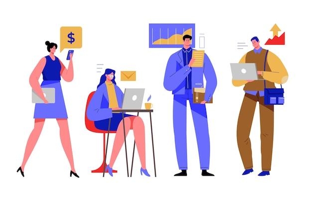 Empresarias y empresarios con dispositivos
