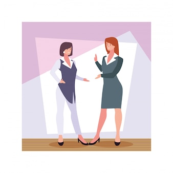 Empresarias de pie en la oficina de trabajo, mujeres profesionales de negocios
