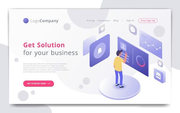 Empresario administrar y estudiar la plantilla de sitio web de infografía