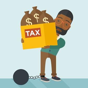 Empresario africano encerrado en una bola de deuda y cadena.