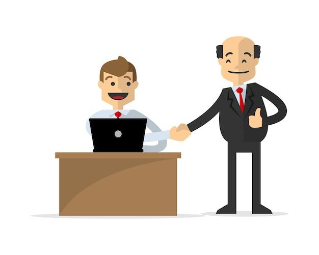 Empresario agitar la mano con su jefe