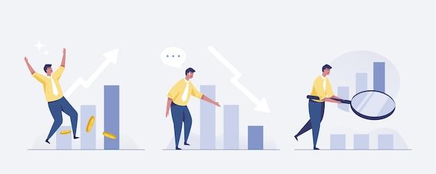 Empresario analizando el concepto de tablas de crecimiento. vector de ilustración