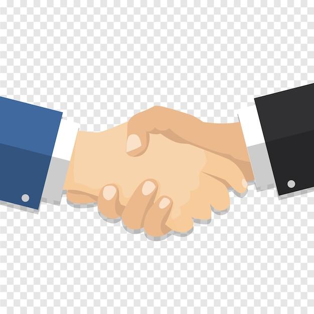 Empresario de apretón de manos en fondo transparente
