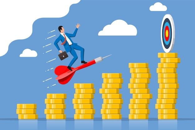 El empresario apunta la flecha al objetivo en el gráfico de monedas subiendo. el establecimiento de metas. objetivo inteligente. concepto de objetivo empresarial. logro y éxito. ilustración de vector de estilo plano