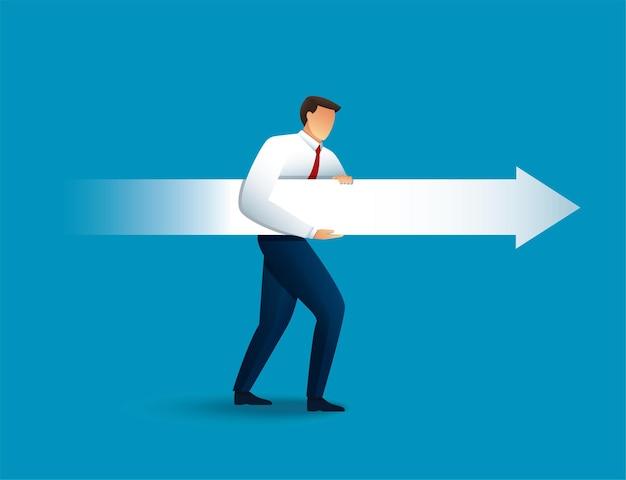 El empresario apunta con una flecha enorme