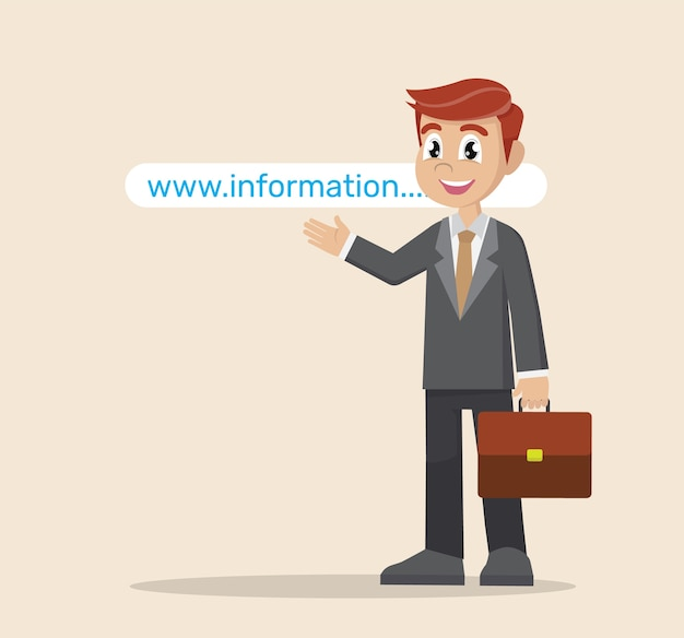 Empresario apuntando a la dirección del sitio web.