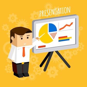 Empresario apuntando a tablas de presentación y diagramas, datos y análisis, estadísticas y crecimiento.