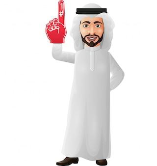 Empresario árabe mostrando número uno con dedo de espuma
