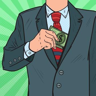 Empresario de arte pop poniendo dinero en el bolsillo de la chaqueta del traje