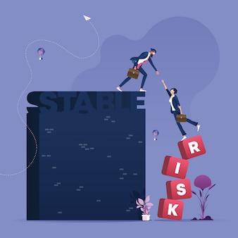 Empresario ayuda socio de riesgo a vector de concepto de negocio estable