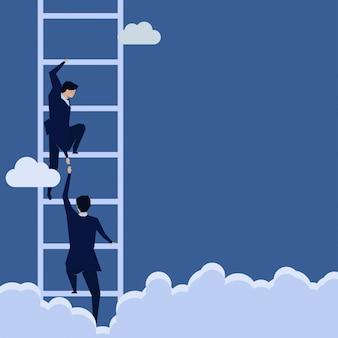 Empresario ayuda a subir la escalera.