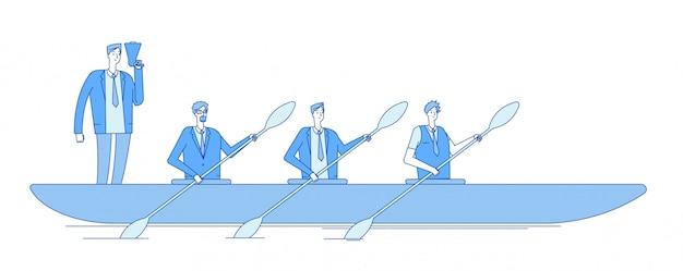 Empresario en bote. capitán de negocios líder personas remeros del equipo remando en olas misión visión trabajo en equipo línea concepto de negocio