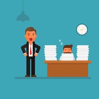 Empresario caer dormido en su escritorio de oficina