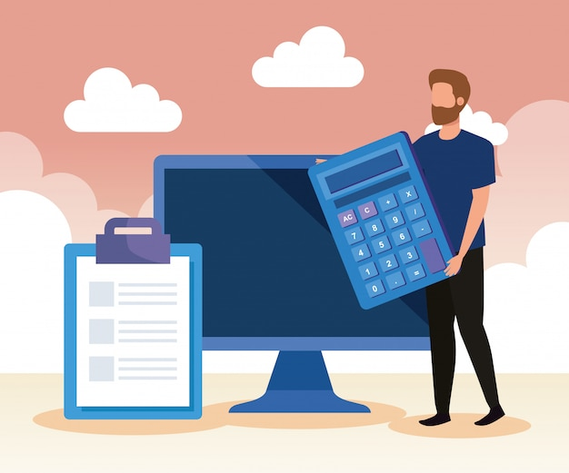 Empresario con calculadora y tecnología informática y documento