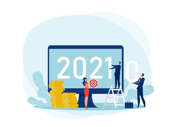 Empresario cambiando la transición del año
