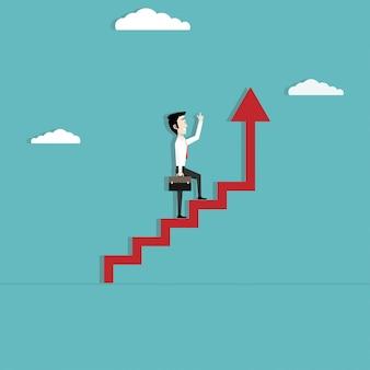Empresario caminando en creciente escalera de flecha