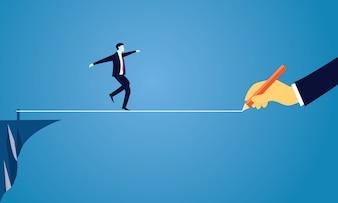 Empresario caminando en cuerda. reto del riesgo en el concepto de negocio
