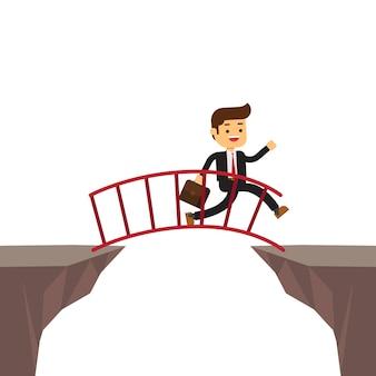 Empresario caminando en la escalera para cruzar