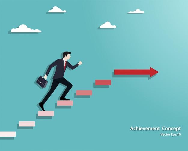 Empresario caminando por la escalera hasta el éxito
