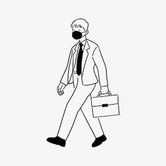 Empresario caminando con mascarilla, nuevo concepto de estilo de vida normal, estilo de arte lineal dibujado a mano.