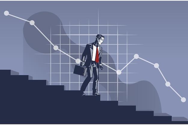 Empresario caminar por la escalera hacia el concepto de ilustración de gráfico empresarial decreciente