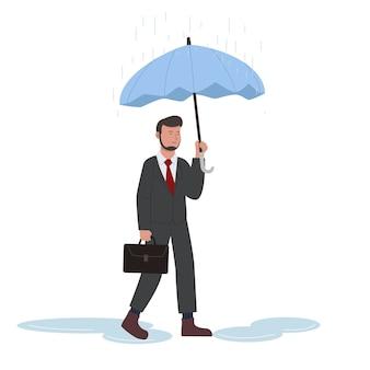 Empresario caminar bajo la lluvia con ilustración de paraguas