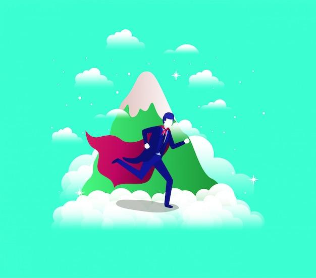Empresario con capa de héroe corriendo en el cielo y la montaña