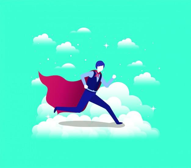 Empresario con capa de héroe corriendo en el cielo