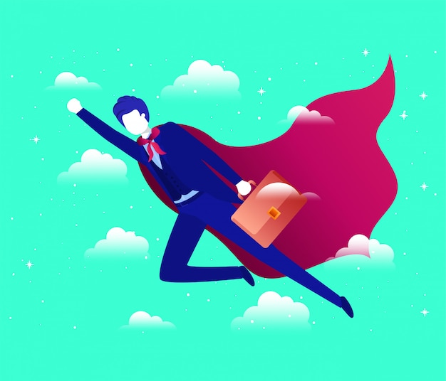 Empresario con capa de héroe volando en el cielo