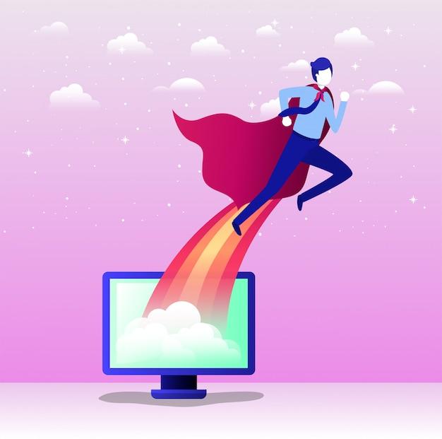 Empresario con capa de héroe volando en escritorio