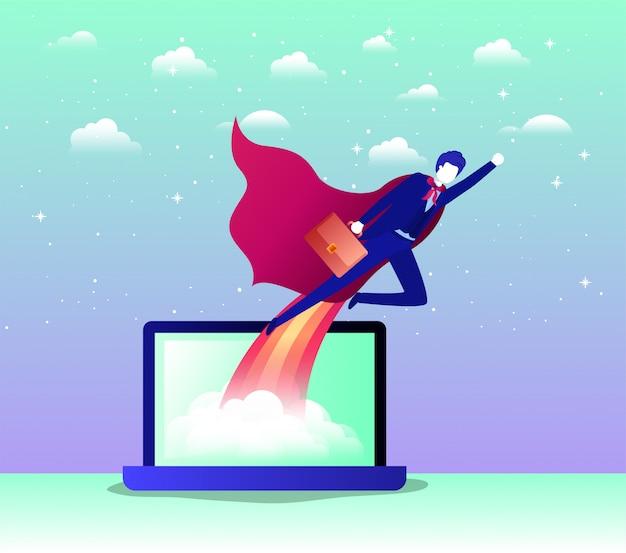 Empresario con capa de héroe volando en portátil