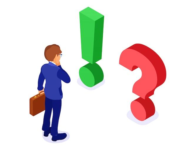 El empresario de carácter isométrico con maletín hace una elección con una pregunta roja y un examen isométrico de signo de exclamación verde aislado