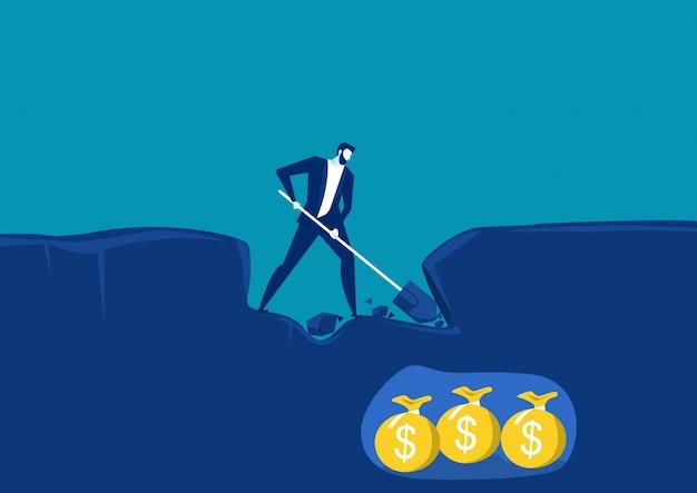 Empresario cavar con pala y muy cerca del éxito con dinero de oro en tierra. ilustración vectorial conceptual