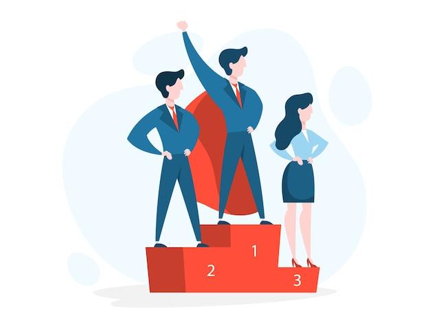 El empresario celebra el éxito. idea del logro