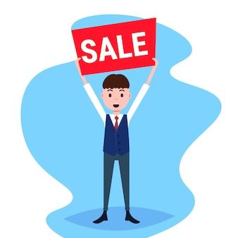 Empresario celebración venta junta oferta especial descuento promoción plano masculino personaje de dibujos animados integral