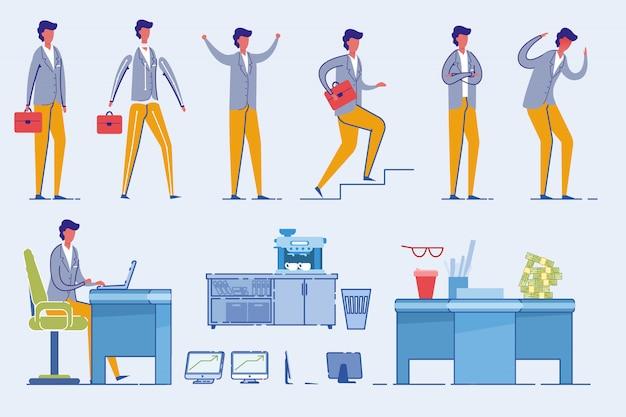 Empresario character set con mobiliario de oficina.