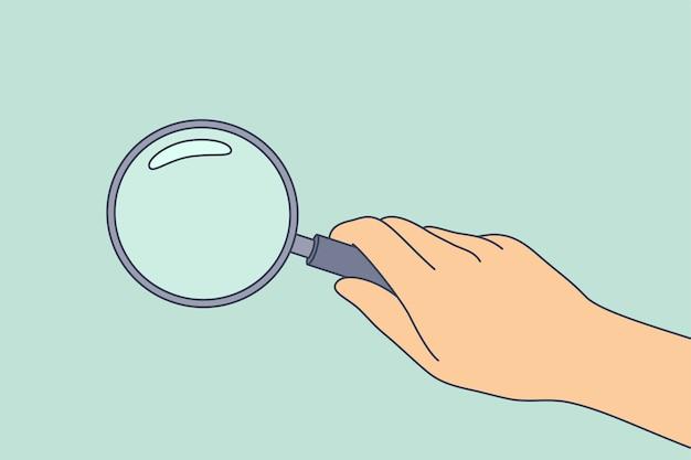 Empresario científico detective dibujos animados mano sosteniendo lupa