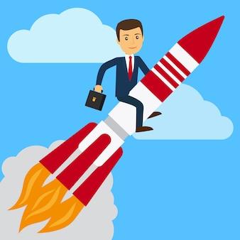 Empresario en cohete en el cielo