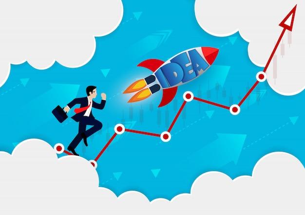 Empresario y cohete en flecha roja van a la meta