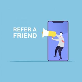 Empresario compartir información sobre recomendar a un amigo