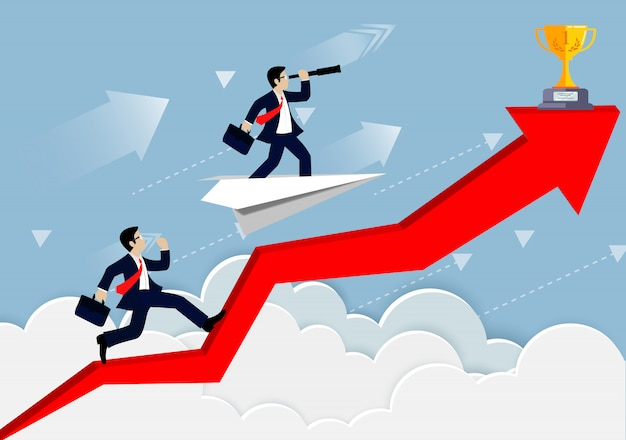 Empresario competencia en una flecha roja hasta el cielo ir a la meta