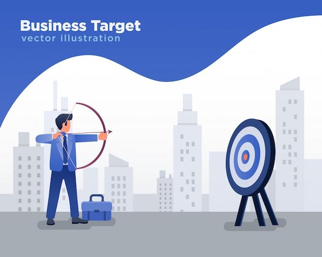 Empresario con el objetivo de blanco, ilustración de flecha de disparos