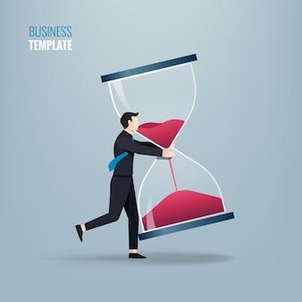 Empresario con concepto de reloj de arena. ilustración de símbolo empresarial