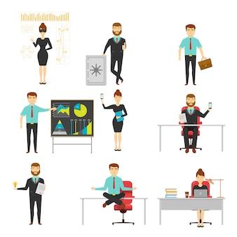 Empresario conjunto de caracteres con documentos y teléfonos inteligentes en el lugar de trabajo o presentación aislado