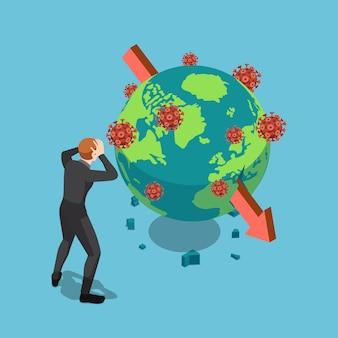 Empresario conmocionado isométrico viendo colapso de la bolsa mundial por el virus covid-19