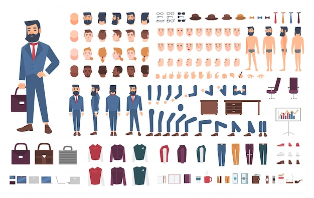 Empresario constructor de personajes. conjunto de creación de empleado masculino. diferentes posturas, peinado, cara, piernas, manos, accesorios, colección de ropa. ilustración de dibujos animados guy, frontal, lateral, vista posterior.