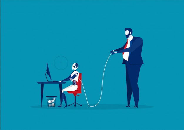 Empresario controlando un robot en el escritorio de la oficina