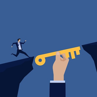 Empresario correr hacia el puente de mano clave ayudando.