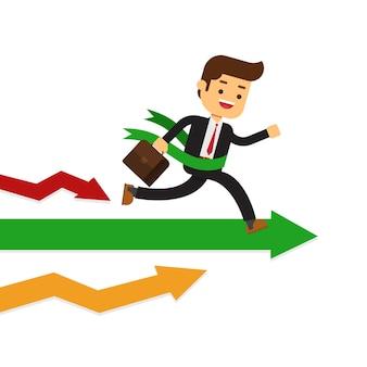 Empresario correr recto a través de la línea de meta